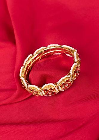 Gold plated traditional kada with red and white moti only on Kalki