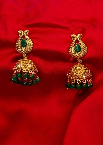 Gold plated uncut traditional jhumkas with emerald green beads