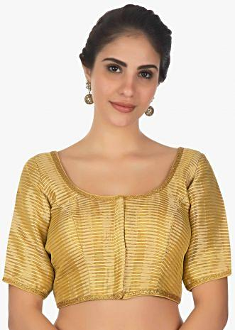 Golden brocaded blouse with golden lace borde
