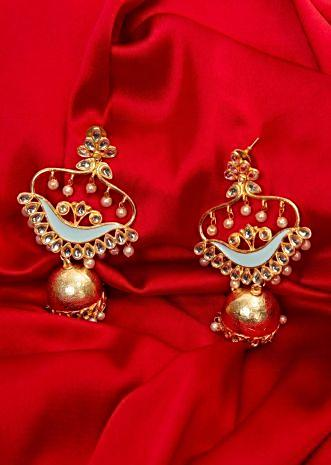 Golden kundan earring with jhumkas