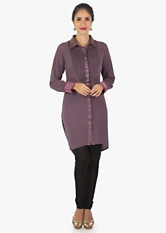 grape voilet georgette kurti with fancy drape and resham work only on Kalki
