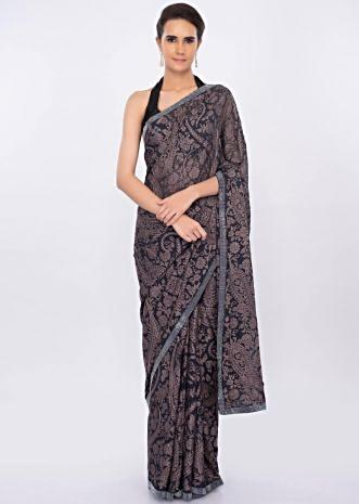 Graphite grey georgette saree in thread jaal embroidery only on kalki