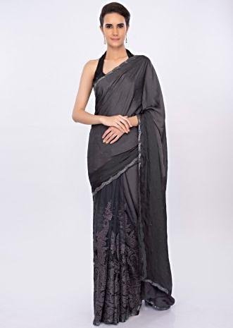 Graphite grey  half and half saree in satin and net only on kalki