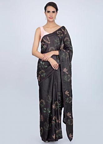 Graphite grey tussar silk saree in multi color floral embroidery only on Kalki