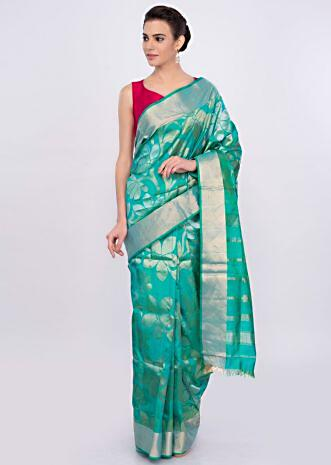 Green and blue color brocade saree only on Kalki