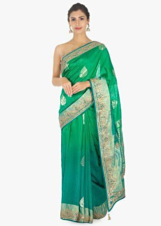 Green and blue shaded raw silk saree in weaved butti