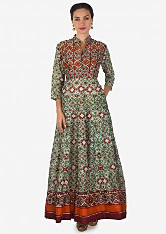Green and red dress in ikkat motif printed dress only on Kalki