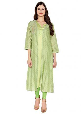 Green Cotton Kurti With Printed Jacket And Plain Lining And Beautifully Embroidered Cage And Trees On Shoulder Only On Kalki