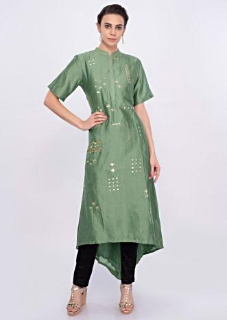 Green cotton kurti with sequins butti only on Kalki