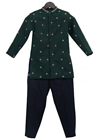 Green Cotton Silk zardosi Embroidery Ajkan with Black Pant by Fayon Kids