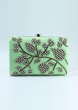 Green pearl beaded hand embroidered clutch