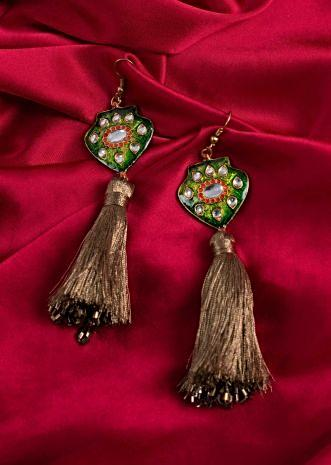 Green Polki jadau earring with resham tassel only on Kalki