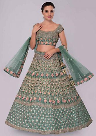 Green raw silk lehenga set in temple and geometric embroidery
