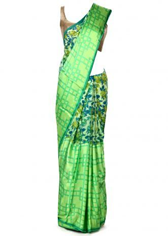 Kelly green saree in floral and checks print only on Kalki