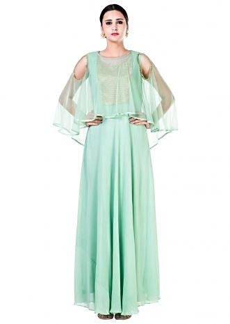 Green Sequin work Cold Shoulder Cape Style Gown