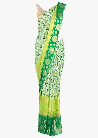 Green shaded georgette saree in ogee print and weaved work