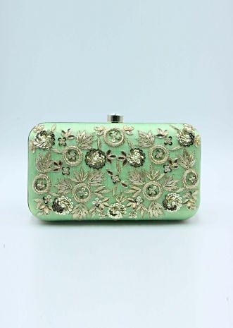 Green sling clutch bag  embellished in zardosi floral embroidery