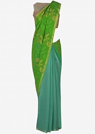 Green and turq half and half saree in georgette with self and zari weaved pallav only on Kalki