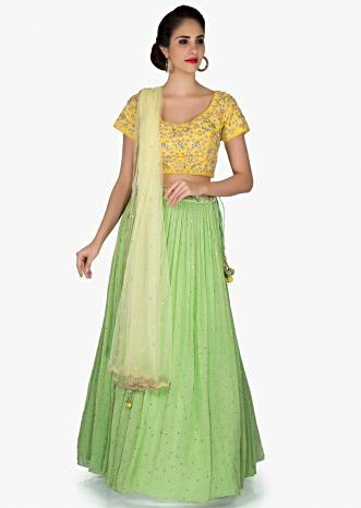 Green Yellow Lehenga Blouse Ensemble Featuring Embroidery, Sequins and Moti only on Kalki