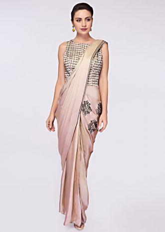 2c7934502b Grey beige satin saree gown with heavy kundan embroidered bodice ...