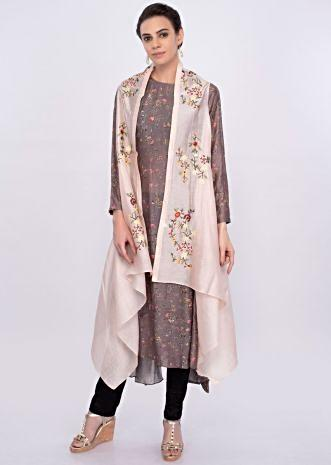 Grey cotton asymmetric kurti in digital floral print only on Kalki