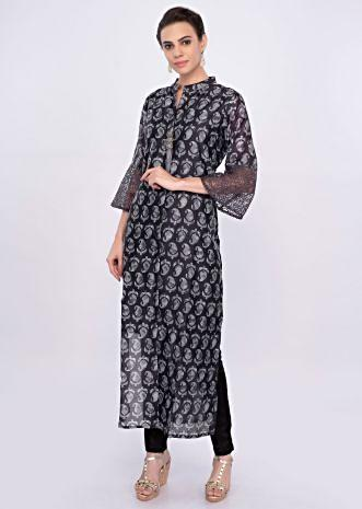 Grey cotton silk kurti in block print only on Kalki