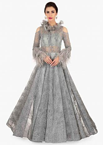 Grey embroidered net gown in chord and moti