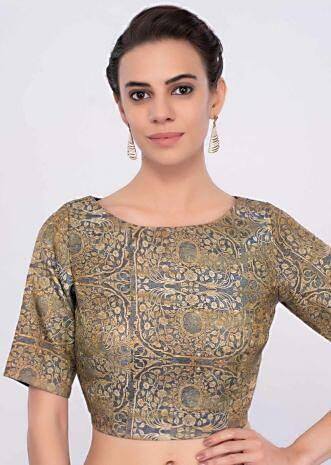 Grey fancy fabric high neck blouse with digital floral print only on Kalki