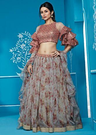 d33999080f6428 Grey Floral Printed Lehenga With Embroidered Blouse And Frill Dupatta ...