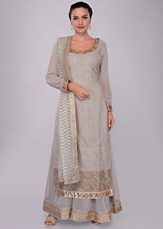 Grey georgette lucknowi palazzo suit set with net dupatta
