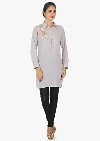 Grey georgette kurti embellished with resham patch work only on Kalki