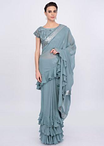 Grey georgette saree with frilled pallo and hem only on Kalki