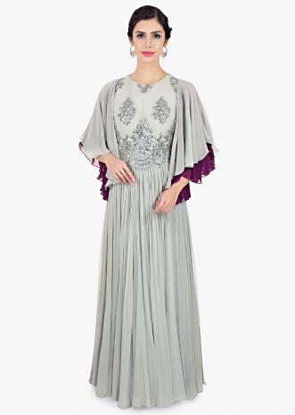 Grey georgette suit with embroidered net bodice and flared sleeves