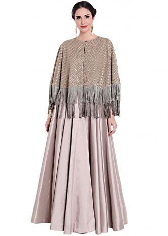 Grey gown with fancy sequin embroidered cape