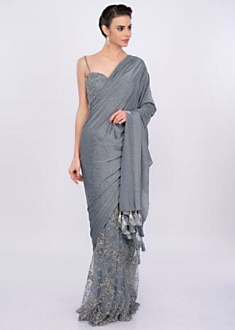 Grey half and half saree in shimmer lycra and embroidered net only on Kalki