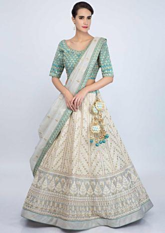 Grey jute cotton lehenga with blue silk gotta patch embroidered blouse only on Kalki