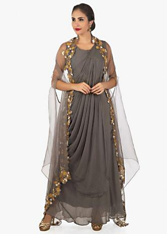 Grey long dress with stitched pleats with, organza fancy jacket