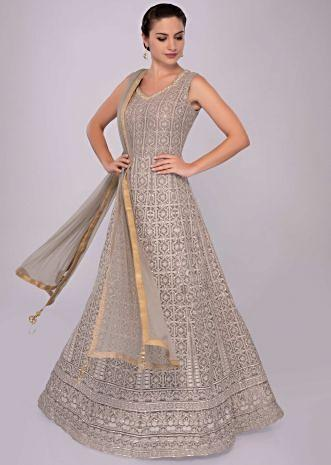Grey lucknowi georgette anarkali dress with net dupatta