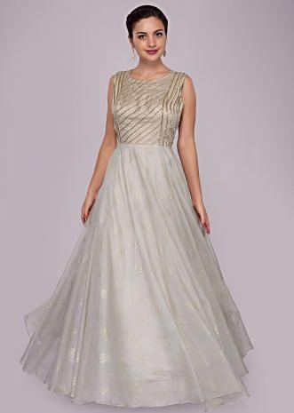 Grey organza anarkali gown with embroidered bodice