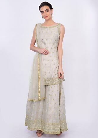 Grey organza palazzo suit set in kundan embroidered butti only on Kalki