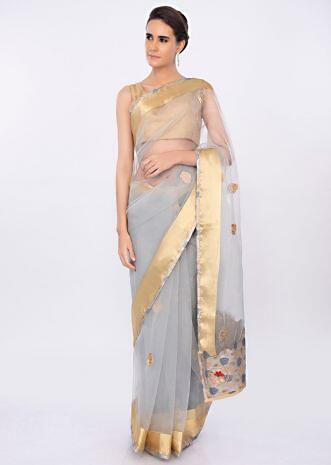 Grey organza saree with butti and border only on kalki