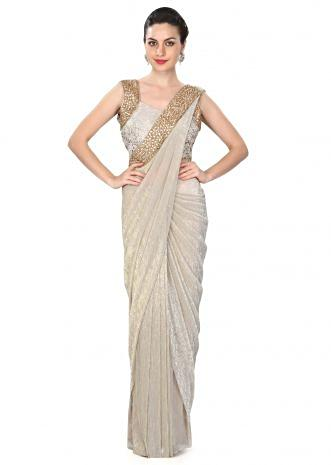 Grey saree gown features with embellished pallav only on Kalki