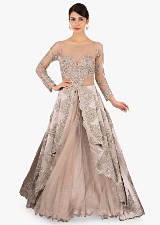 Grey satin gown with chord work and net under layer