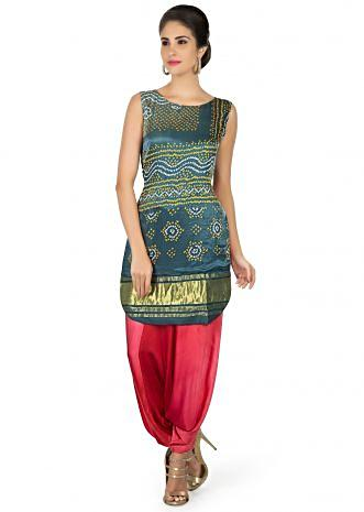 Grey satin top in bandhani print matched with Aladdin pants only on Kalki