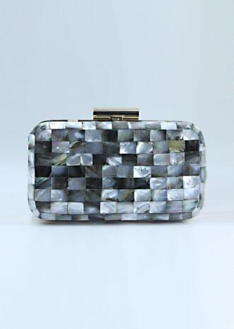 Grey shaded marble stone sling clutch