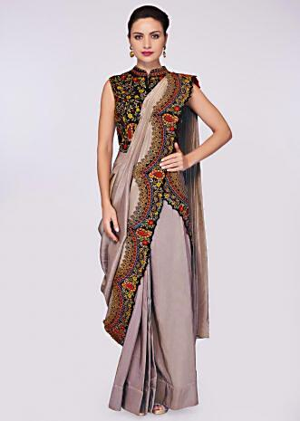Grey silk draped saree lehenga paired with black resham embroidered high neck blouse