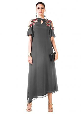 Grey Asymmetrical Hand Embroidered Cold Shoulder Dress