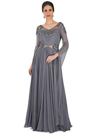 Grey Georgette Gown Styled with French Knot Embroidery and Sequins only on Kalki