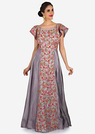 Grey gown in cotton encrusted in frenchknots and resham embroidery work only on Kalki
