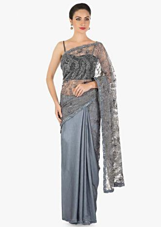 Grey half and half saree in zari and sequin embroidered net